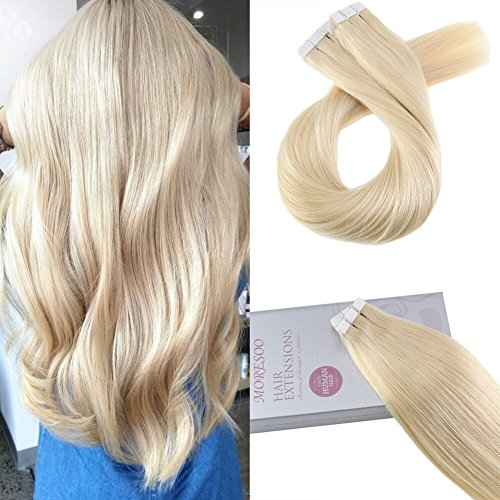 Moresoo 18 Inch Skin Weft Remy Human Hair Glue in Extensions 40 Pieces 100 Grams #613 Bleach Blonde Seamless Tape on Human Hair Extensions Adhesive Full Head Natural Straight Human Hair