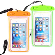 """[2 PACK] Universal Waterproof Case, NOKEA Dry Bag for Apple iPhone 7, 6S, 6, 6S Plus, SE 5S 5C, Galaxy S7 Edge, S7, S6, S5, S4, Note 5 4, HTC LG G5, G4, Sony Nokia Motorola up to 6.0"""" diagonal"""