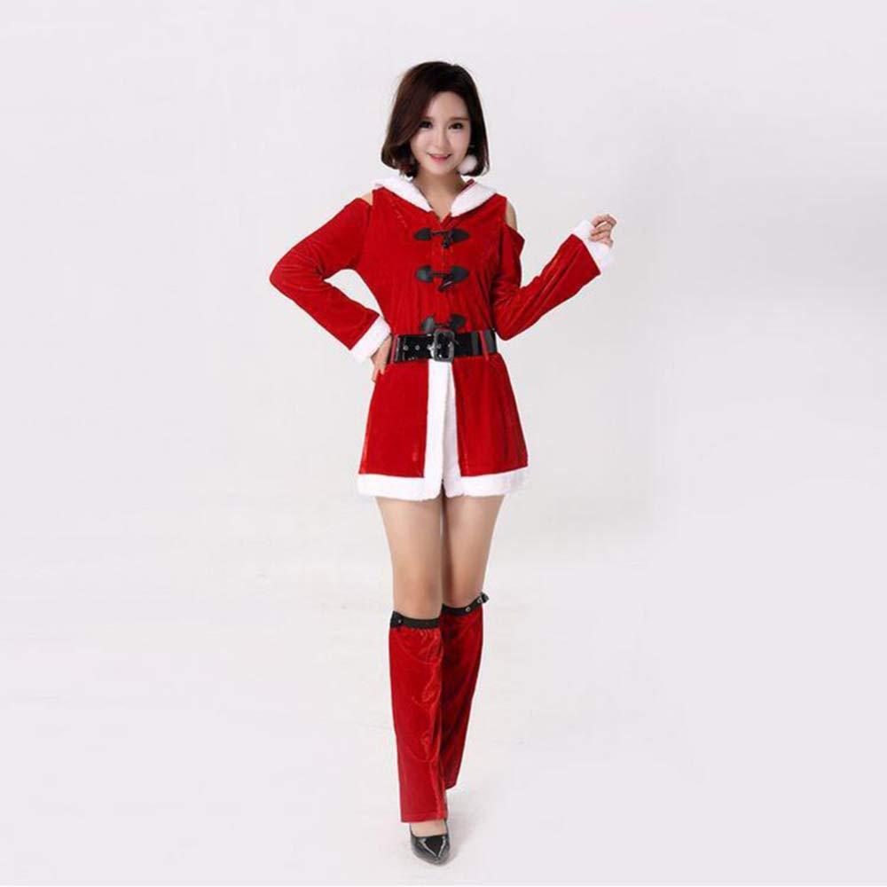 CVCCV Weihnachten Rot Mit Kapuze Langarm Weihnachten Kleid Weihnachten Party Bühnenkostüm Faser Material Damenbekleidung