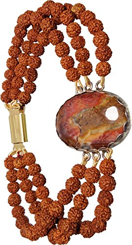 Aldomin Picture Jasper With Rudraksh Healing Crystal Three Strand Bracelet