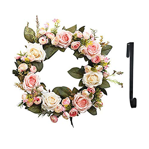 Handmade Wreath, Floral Artificial Simulation Flowers Garland, European Door Ornament, with 1pcs Wreath Hook, for Home Party Decor (13 inch Pink)