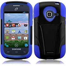 Importer520 HYBRID Dual Heavy Duty T-Stand Impact Kickstand Double Layer Fusion Cover Case for Samsung Galaxy Centura S738C S730G S740C Discover Cricket, Net 10, Tracfone, Straighttalk, Black +Dark Blue