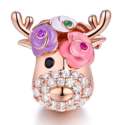 Vintage Flower Deer Elk Head Bead Sparkle Charms Fit for Pandora Bracelets 925 Sterling Silver with Cubic Zirconia Rose Gold Plated Xmas Present Jewelry for Women and Girl FQ0043 - Trollbeads Rose