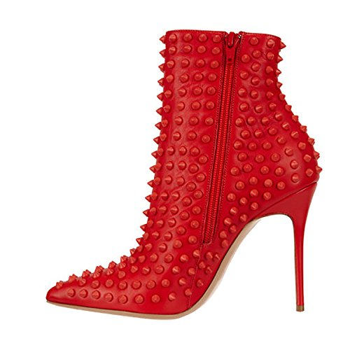 Women Ankle 4 Heel High Fashion Shoes Boots Zipper 15 Rivets US Pointed Red with Stilettos Size FSJ Toe nI6wdRxI