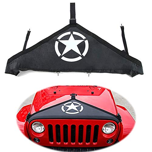 EIGIIS Front Hood Cover Protect Paint Bra Covers T-Style Protector Kit for 2007-2018 2-Door 4-Door Jeep Wrangler JK Rubicon Sahara Sport Sport-S (Five Stars)