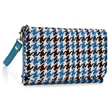 Kroo Clutch Wristlet Wallet Case for Smartphones up to 4-Inch - Non-Retail Packaging - Blue Houndstooth and Blue