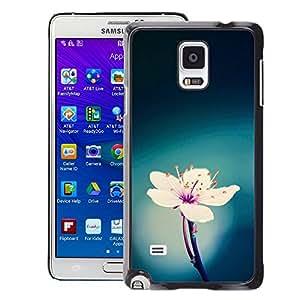 A-type Arte & diseño plástico duro Fundas Cover Cubre Hard Case Cover para Samsung Galaxy Note 4 (Green Blue White Pink Flower Spring)