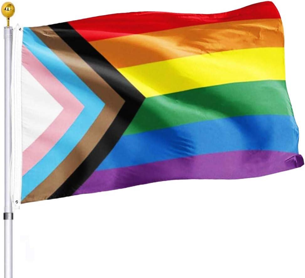 Progress Pride Rainbow Flag 3x5 Outdoor All Inlcusive Pride 100D Bisexual LGBTQ Non Binary Lesbian Gay Transgender Prides Proculsexual Flags