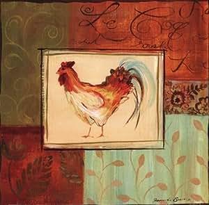 Jennifer Sosik - Gallo patchwork Artistica di Stampa (30,48 x 30,48 cm)