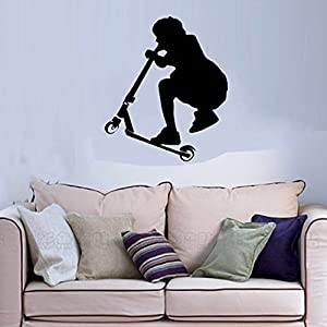 "ColorfulHall 21.65"" X 25.59"" Black Color A Stunt Scooter Boy Wall Art Decal Sticker for Kids Room Decoration"