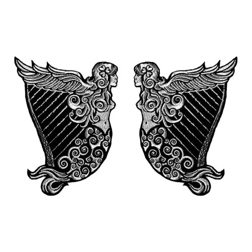 Leather Erin (VEGASBEE IRISH HERITAGE HARP WINGED MAIDEN ERIN SILVER METALLIC EMBROIDERED TWO PATCH SET)