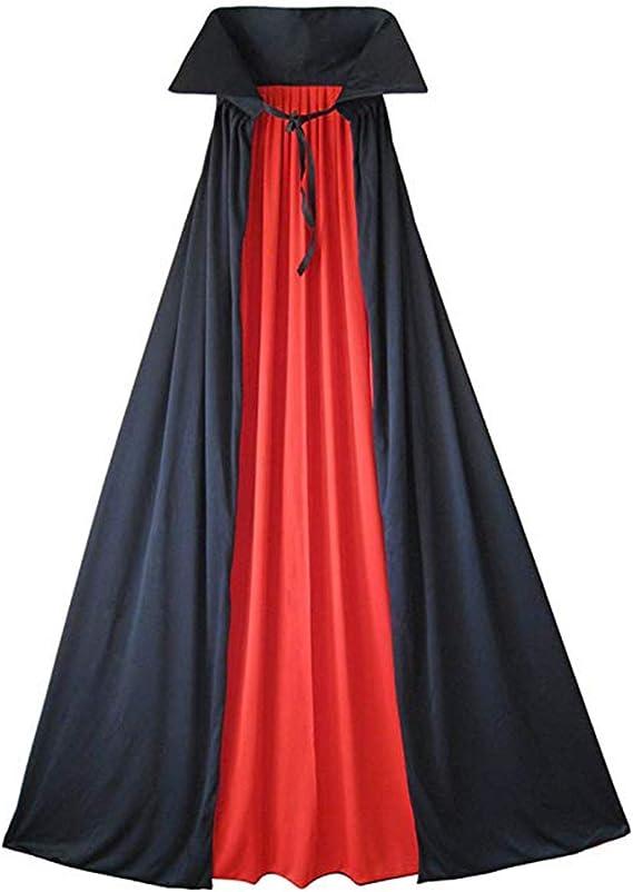 Da Uomo Donna Lungo Nero Cape Mantello Vampiro Dracula Halloween Nuovi