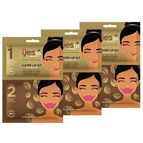Yes To Coconut 2-Step Lip Kit Bundle (3 Single Use Lip Kits)