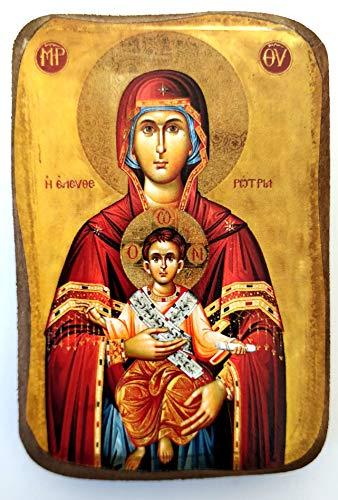 Virgin Mary Icon - Wooden Greek Christian Orthodox Wood Icon of Virgin Mary Eleftherotria / A0