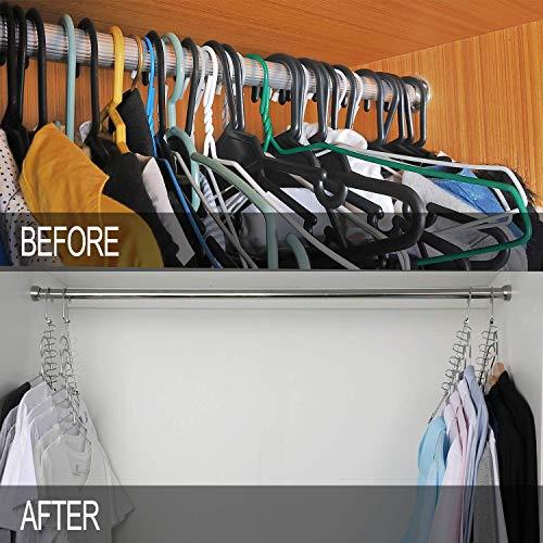 Meetu Space Saving Hangers Magic Cloth Hanger Metal Closet Organizer for Closet Wardrobe Closet Organization Closet System (Pack of 12)