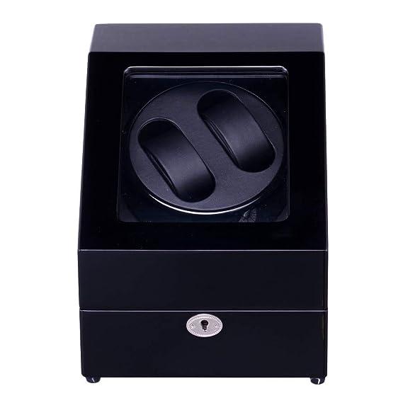 SHOUBIAOHE Cajas giratorias Mira enrollador, Lt Madera Rotación automática 2 + 3 Mira enrollador Caja de Almacenamiento Caja de presentación (Todo Negro) ...