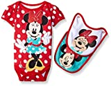 Disney Baby-Girls 1 Minnie Bodysuit and 2 Minnie Face Bibs to Attach to The Bodysuit, Red, 0-3 Months (3-Piece)