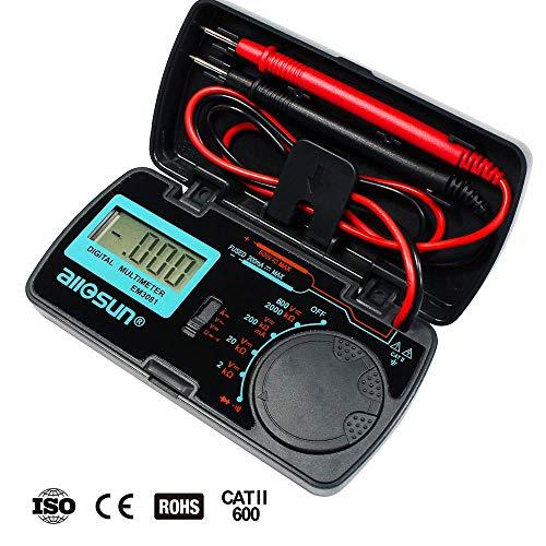 (allsun Manual Range Digital Multimeter Mini 6 Functions Handheld Folding Digital Multimeter 3-1 2 Digit Pocket DMM DC/AC Voltmeter DC Ammeter Ohm Continuity Diode Testing Tone Tester EM3081)