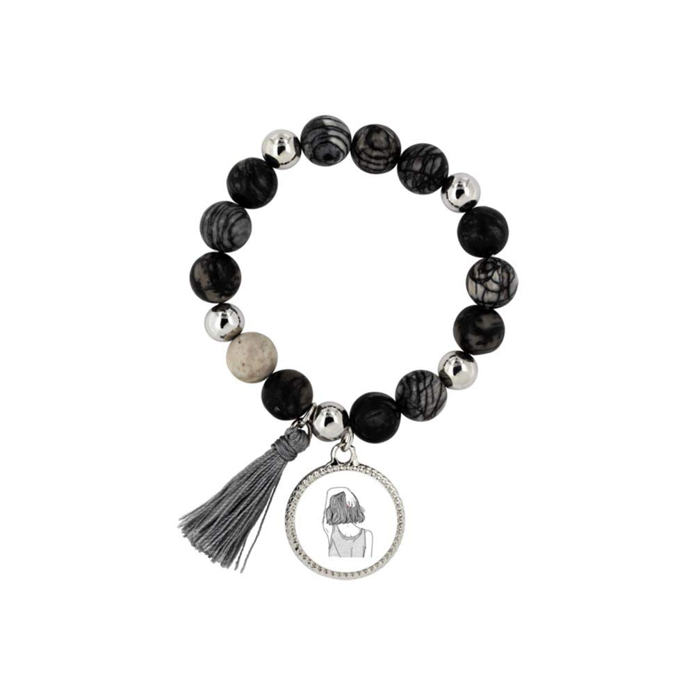 Charms for Women Birthday Gift |Gift for Short Hair Girls Off Behind A Girl for Mother Black and White Wife Mia Rita Woman Bracelet