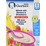Nestlé Gerber Wheat with Banana & Strawberry Baby Cereal, 227g (6 Count)