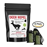 Deer Repel Natural Repellent Pouches Stop Deer and Rabbits Eating Plants Trees Gardens & Orchards - 10 Pack