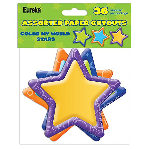 (Eureka Back to School Color My World Stars Paper Cut Out Classroom Decorations for Teachers, 36pc, 5''H)