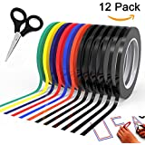 "Graphic Chart Tape Art Tape Whiteboard Tape Vinyl Tape 12 Pacs 1/8"" Self-adhesive Artist Tape –with a Gift –Scissor (PET)"