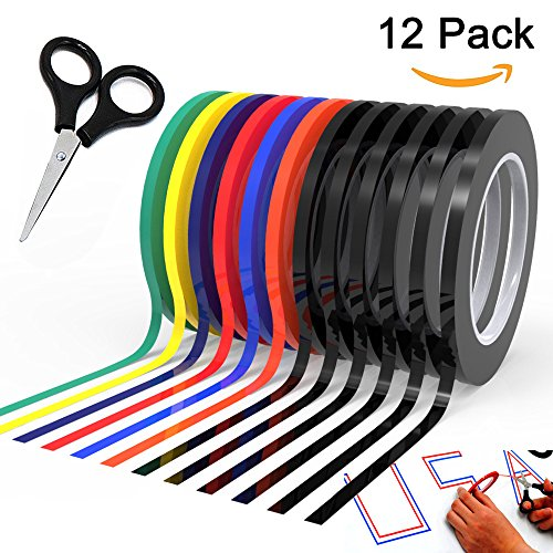 "Graphic Chart Tape Art Tape Whiteboard Tape Vinyl Tape 12 Pacs 1 8"" Self-adhesive Artist Tape –with a Gift –Scissor (PET)"