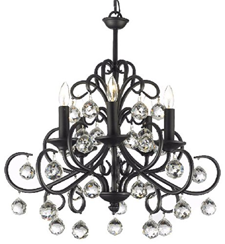 Wrought Iron Ceiling Lighting - Bellora Crystal Wrought Iron Chandelier Chandeliers Lighting with Faceted Crystal Balls H 22