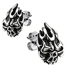 Flaming Demon Skull Clear CZ Stone Eyes 316L Surgical Steel Fashion Earrings / Unique Gifts and Souvenir