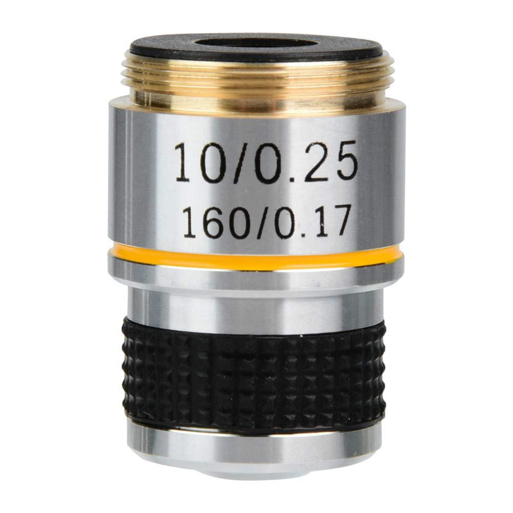 Objetivo 10X 185 Objetivos, 20 mm RMS 160/0.17 Objetivo objetivo biológico acromático, lente de lupa joyero Microscopio digital Lente objetivo objetivo