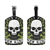 Set of 2 Luggage Tags Watercolor Skull Suitcase