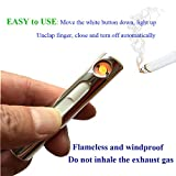 Mini rechargeable windproof long battery life no gas electronic lighter with USB charging cable flameless safe portable slim cigarette lighter set (golden)