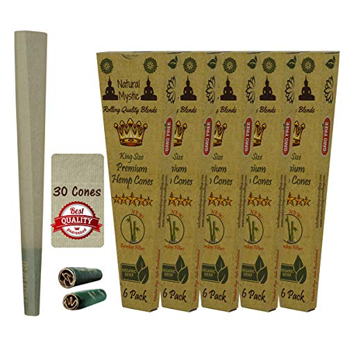 King Size Cones Rolling Paper - Pre-rolled Cone Pre Rolled 30 Pack Prerolled BROWN Raw Extract Organic Smoking Cones With Filter Tips Preroll Even Burn Control Use Natural Mystic Loader Filling Funnel