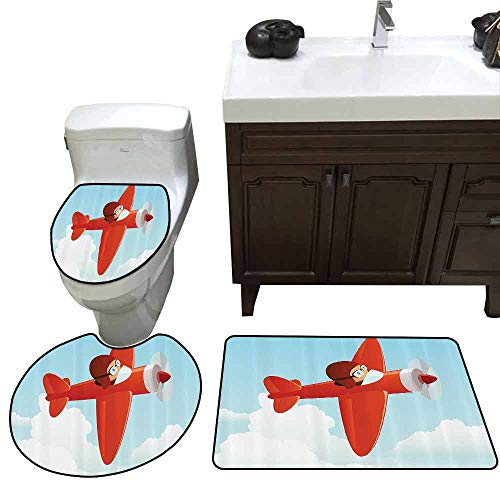 3 Piece Bathroom Rug Set Kids Decor Cute Airplane Flying in The Cloud Sky Little Boy Pilot Baby Children Cartoon Print Printed Rug Set Orange Blue