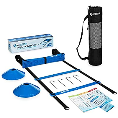 Agility Ladder | Speed Ladder for Football, Soccer Training & HIIT Workouts | Exercise Ladder Bundle – 19 Feet, 12 Rungs, 6 Disc Cones & Agility Training Ebook – Speed & Agility Drills