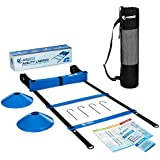 Agility Ladder   Speed Ladder for Football, Soccer Training & HIIT Workouts   Exercise Ladder Bundle – 19 Feet, 12 Rungs, 6 Disc Cones & Agility Training Ebook – Speed & Agility Drills