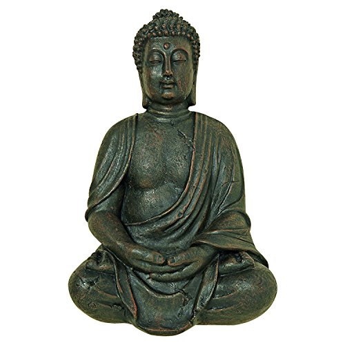 Whole House Worlds The Global Chic Buddha Statue, Seated in Dhyanasana, Bas Relief Sculpture, 16