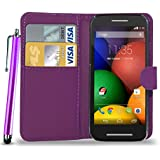 N+ India Leather Wallet Flip Case Cover Pouch for Motorola Moto E2 E 2 with Touch Stylus Pen Purple