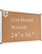 Cork Board Bulletin Board - 24 x 36 Message Board Wall Mounted Aluminum Framed with 12 Pins