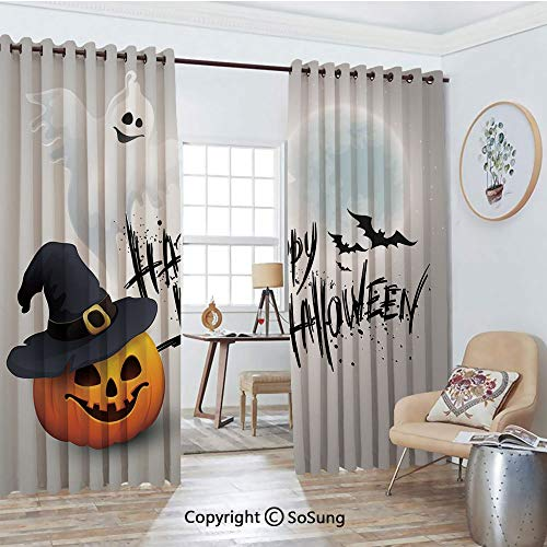 - Thermal Insulated Blackout Patio Door Drapery,Happy Celebration Typography Stained Look Cute Ghost Pumpkin Hat Print Decorative Room Divider Curtains,2 Panel Set,100