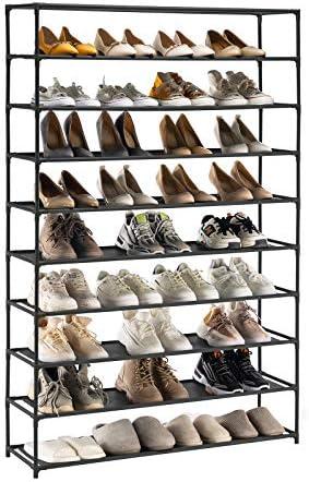 YOUDENOVA 10 Tiers Shoe Rack, 50 Pairs Tall Shoe Rack Organizer, Non-Woven Fabric Shoe Storage Cabinet (Black)