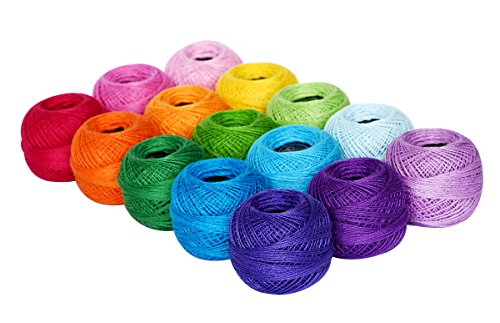Cotton Crochet Yarn - LE PAON Soft 1500Y 15 Pearl Balls Cardinal Size 8 Rainbow Colors for Crochet Hardanger Cross Stitch Needlepoint Hand Embroidery All