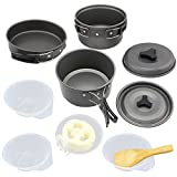 Topix 11pcs Lightweight Foldable Outdoor Camping Hiking Cookware Backpacking Cooking Picnic Bowl Pot Pan Set with a Black Opacity Bag for Two to Three People