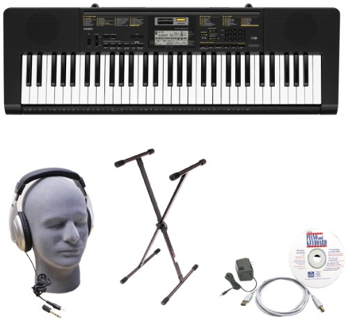 Casio Inc. CTK2400 EPA 61-Key Premium Keyboard Package with Samson HP30 Headphones, Stand, Power Supply, USB Cable and eMedia Software by Casio