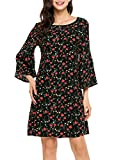 Zeagoo Women Summer Casual Floral Print Ruffle Flare Bell Sleeve 3/4 Sleeve Adorable Shift Dress