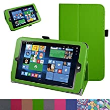 "Insignia NS-P08W7100 Case,Mama Mouth PU Leather Folio 2-folding Stand Cover with Stylus Holder for 8"" Insignia Flex NS-P08W7100 Windows 10 Tablet 2016,Green"