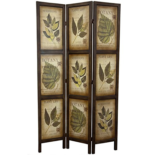 Oriental Furniture 6 ft. Double Sided Botanic Printed Wood Room Divider - 3 (3 Panel Folding Floor Screen)