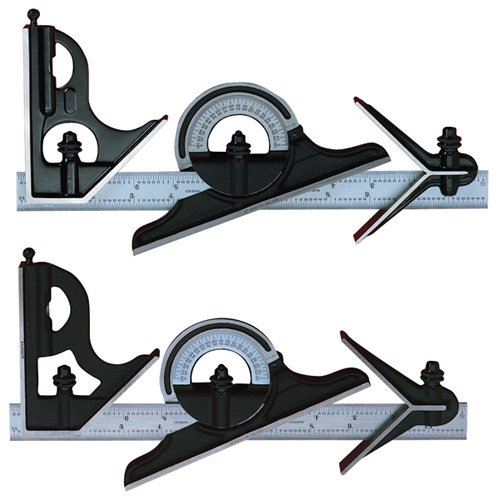 Starrett C434-12-4R Combination Set with Square, Center and Reversing Protractor and Satin Chrome blade