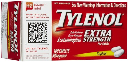 [Tylenol Extra Strength Pain Reliever & Fever Reducer Caplets-100 count] (Cold Pain Reliever Aspirin)